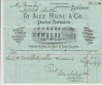 Alex Milne & Co. Bootmakers 1882 Building Illustrated Headed Receipt Ref 32753