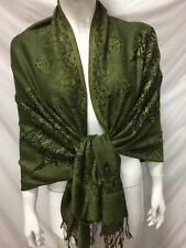 2PLY THICK PASHMINA CASHMERE REVERSIBLE SNOWFLAKE GREEN OLIVE WRAP SCARF STOLE
