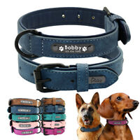 Personalised Dog Collar Soft Leather Engraved ID Nameplate Small Large Labrador