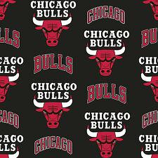 Chicago Bulls NBA Basketball Sports Team Black Fleece Fabric Print by the Yard