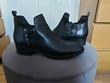 Ankle Boots Geox Respira Women Black Leather Size 6 EU 39