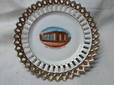 Elkhart In Ind Indiana, souvenir reticulated ribbon plate-Post Office