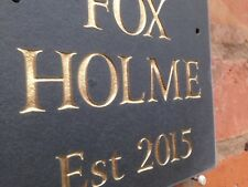 """Quality Natural surface Slate House sign plaque 6"""" x 5""""  GOLD LETTERING"""
