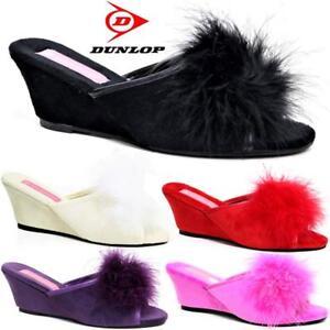 Women Ladies Dunlop Slippers Faux Suede Wedge Pom Pom Fur Wedge Peep Toe Shoes