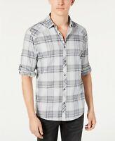 INC Mens Shirt High Rise Gray Size Medium M Button Down Marc Plaid $49 021