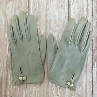 Vintage Kay Fuchs Girl's Gloves 50's Gray Cotton Leather Trim Buttons SZ 0 1/2