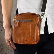 Mens Genuine Leather Sling Messenger Shoulder Satchel Waist Pack Bag Cross Body