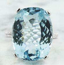 14.35 Carat Genuine Aquamarine 14K Solid White Gold Luxury Diamond Ring
