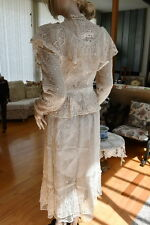 Lim'S Vintage Victorian Style All Hand Made Hand Crochet Top Skirt Set S Natural