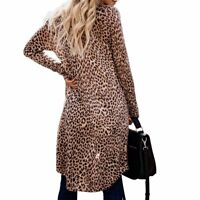 Women Popular Leopard Loose Blouse Summer Chiffon Shawl Kimono Long Cardigan Top
