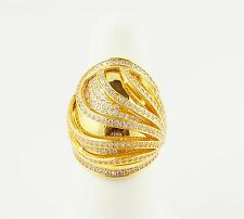 21k Yellow Gold Cubic Zirconia Ladies Cocktail Ring