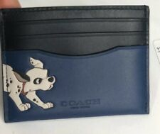 Disney X Coach Dalmatian Slim Card Case Wallet in Admiral Blue Black Leather $98