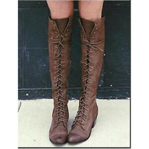 Womens Winter Warm Lace up Knee High Long Boots Motorcycle Combat Riding Shoes