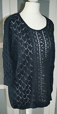 L.O.G.G. Damen Strick Pullover Shirt Spitze Gr.S-M 36-38  dunkelblau