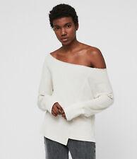 All Saints Womens Lando Chalk Designer Off Shoulder Pullover Relax Sweatshirt