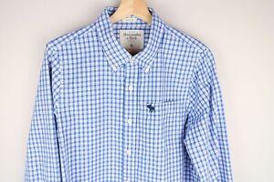 Abercrombie & Fitch Men Casual Shirt Check Blue Cotton size XL