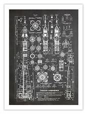 "SOVIET ROCKET PLANS POSTER PRINT BLACKBOARD 18X24"" USSR ENERGIA N1 H1 R-7 GIFT"