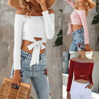 NEW Women Off Shoulder Long Sleeve Bandage Bandeau T-shirt Slim Blouse Crop Top