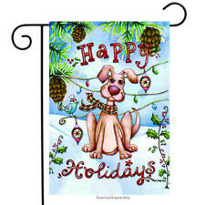 Happy Holidays Dog Fall Flag Out Door Double Sided Yard Garden Flag