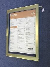 More details for high quality a2 outdoor solid brass menu display case with internal led lights.