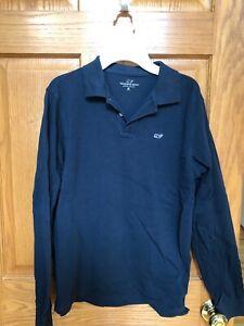 Boys Vineyard Vines M 10-12 Navy Shirt EUC Long sleeve collar