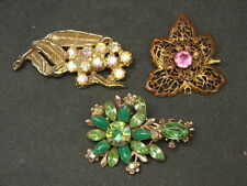 Antique Vtg Rhinestone Glass Flower Leaf Brooches Pins Costume Jewelry Lot of 3