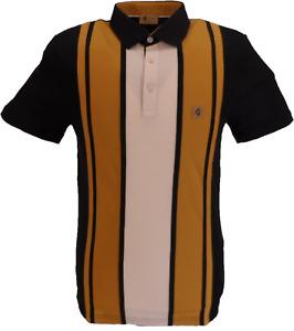 Gabicci Vintage Mens Black/Gold Stripe Retro Polo Shirt