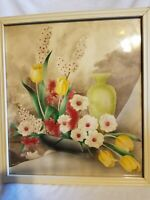 Bernard Picture Co Watercolor Airbrush Art Painting Floral and vase Framed #779