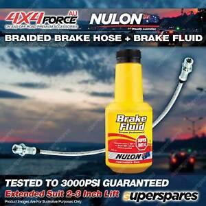 Rear Braided Extended LH/RH Brake Hose + Nulon Fluid for Mitsubishi Triton ML MN