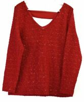 Jennifer Lopez Women's XL Polyester/Spandex Blend Long Sleeve Blouse Red