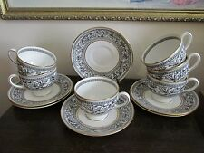 Wedgwood Florentine England Black Set Of 6 Cup And Saucer Gold  W4312
