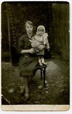 Mother and Girl with Doll, Vintage  Real  Photo  Postcard