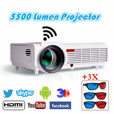 5500 Lumens HD LED WIFI Projector Multimedia Video 1080p Android USB