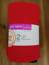 Wonder Nation Girls Tights L (12-14) Cotton Soft Red Black Full Foot 2-pairs NEW