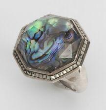 Judith Jack SS 925 Octagon Abalone Shell/Swarovski Crystals Ring Sz 6 NWOT
