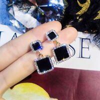 Luxury Rhinestone Crystal Earrings Women's Black Square Geometric Earrings HOT