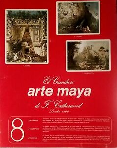 MAYAN TEMPLE PORTFOLIO, F. CATHERWOOD, 8 FULL-COLOR PRINTS PAINTED IN 1844, MINT
