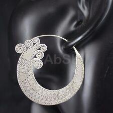 Thai KAREN HILL Tribe 98% SILVER Handmade 58mm Spiral wave Dangle Earrings KE8