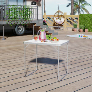 Foldable 2.6FT Picnic Table Camping Table Outdoor White Portable Folding Desk