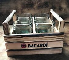 Bacardi Wooden Glasses Carrier and 4 x Glasses