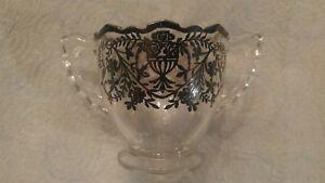 Beautiful Vintage Black Rose Flower Vine Design Sugar Cup