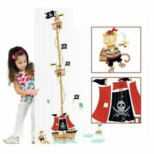 Pirate Monkey Ship Height Measurement Chart Removable Wall Sticker Decal
