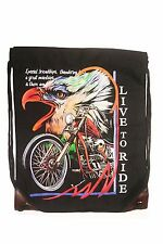 "LIVE TO RIDE PICTURE DRAWSTRING KNAPSACK BAG SIZE : 14"" X 18"" INCH .. NEW"