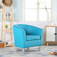 PREMIUM AQUA BLUE LEATHER TUB CHAIR ARMCHAIR DINING LIVING ROOM OFFICE RECEPTION