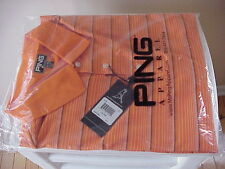 New PING Performance XL Golf Polo Shirt Orange/White Stripe