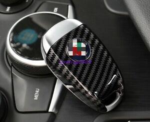Carbon Fiber Style Remote Key Shell Cover Case For Alfa Romeo Stelvio 2017-2019