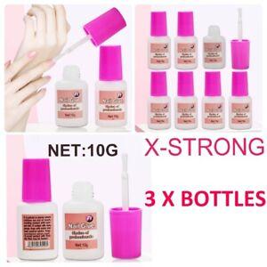 3X10g Strong Nail Glue Adhesive With Brush 10g Acrylic False Tips Rhinestone UK