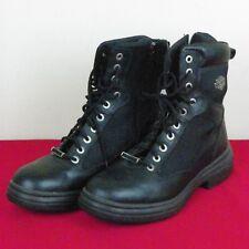 Harley-Davidson Mens 9 1/2 Lace-Up Black Leather Biker Boots D94169