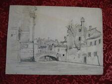 Edouard Jacques Dufeu 1840-1900 / Vue de Venise - Venice - Venezia / dessin