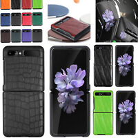 For Samsung Galaxy Z Flip Phone Case Hard PC Cover Leather Protection Shell Skin